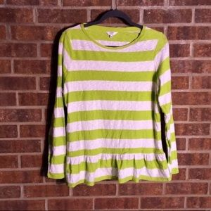 Crown & Ivy Lime Green Striped Peplum Long Sleeve